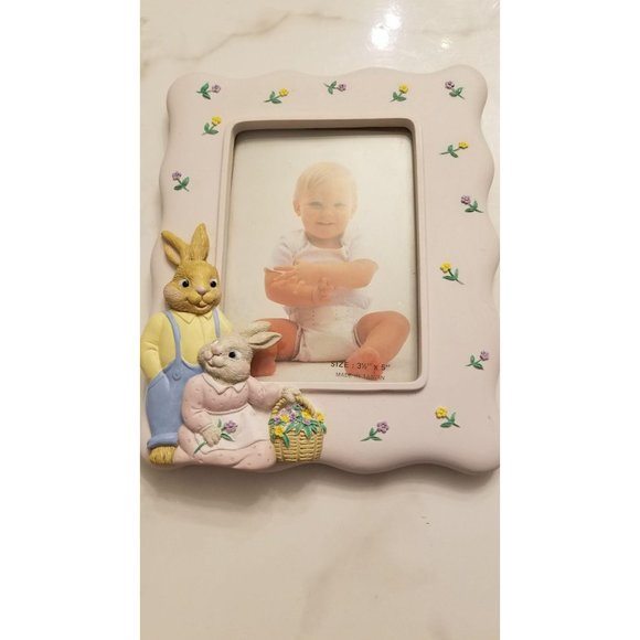 Bunny Rabbit and Floral Frame 3.5 x 5